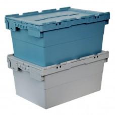 Ящик пластиковый N6428-ALC с крышкой 600х400х295мм серый